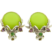 Springtime clip on Earrings with chartreuse thermoset button and rhinestones