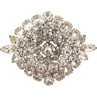 Large 1950's crystal rhinestone Brooch in a layered design