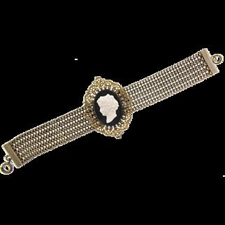 Vintage mesh Bracelet with large center framed cameo