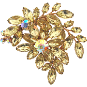 Large 1960's floral Brooch with citrine and AB rhinestones