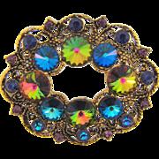 Signed Hollycraft brilliant antiqued gold tone Brooch with rivoli rhinestones