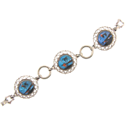 Vintage Morpho butterfly wing silver tone Bracelet