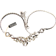 Signed Trifari 1950's silver tone with crystal rhinestone choker with original tag