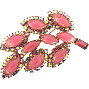 Signed Weiss beautiful leaf Brooch in AB and pink givre stones