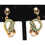 Petite vintage clip on Earrings with tiny turquoise colored beads and imitation pearls