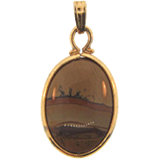 Small dendritic picture agate Pendant in gold filled frame