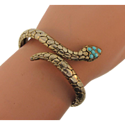 Vintage single coil snake hinged snake Bracelet with turquoise beads
