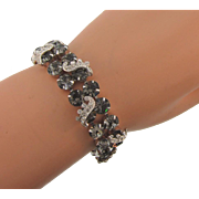 Signed Weiss vintage smokey rhinestone Bracelet with crystal rhinestone icing