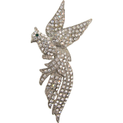 Large 1940's pot metal bird Brooch with crystal rhinestones