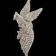 Large 1940's pot metal bird Brooch with crystal rhinestones