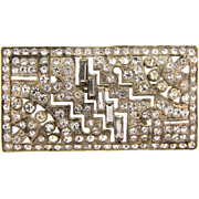 Art Deco 1940's pot metal Brooch with crystal rhinestones
