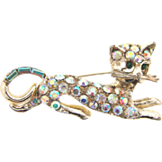 Vintage 1960's figural kitty Brooch with AB rhinestones