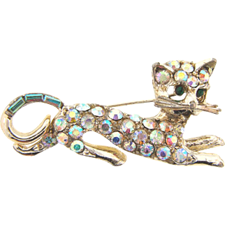 Vintage 1960's figural kitty Brooch with AB rhinestones
