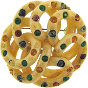 Large early plastic 1940's looped Brooch with multicolored rhinestones