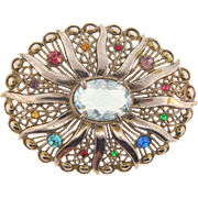 Large 1940's white metal Brooch with multicolored rhinestones