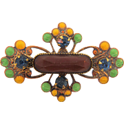 Small Edwardian scatter pin with enamel,rhinestones and Celluloid center piece