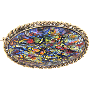 Early silver tone Brooch with oval confetti opalescent art glass cabochon