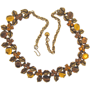 Signed Art@ beautiful 1960's floral rhinestone and jelly cabochon choker Necklace