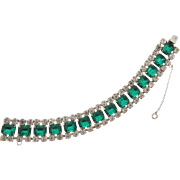 Elegant vintage crystal and emerald green 1950's rhinestone Bracelet