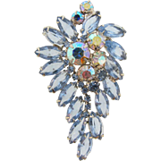 Lovely 1960's large  vintage rhinestone Brooch with AB and light blue stones
