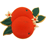 Vintage 1940's figural Brooch of oranges in bright enamels