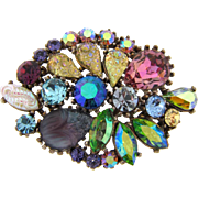 Signed ART@ 1960's multicolored rhinestone Brooch with unusual sizes and shapes of stones