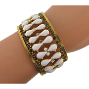 Signed Hobe vintage wide mesh chain Bracelet with white tear drop and crystal rhinestones