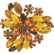 Vintage floral rhinestone Brooch with yellow enamel ribbons in fall colors