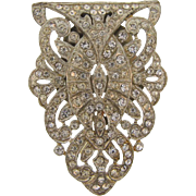 1940's Art Deco Dress Clip with all crystal rhinestones