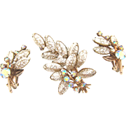 Gorgeous rhinestone 1960's Brooch and clip on Earrings with iridescent lava and AB stones