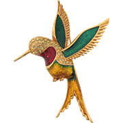 Vintage  1970's hummingbird Brooch with crystal rhinestones and bright enamel glaze