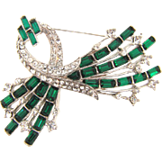 Gorgeous 1940's Art Deco floral spray Brooch with green and crystal rhinestones