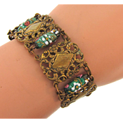 Early wide panel link Bracelet with Venetian wedding cake beads