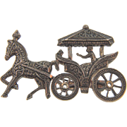 Marked Spain figural brooch of a horse drawn carriage