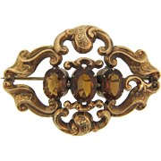 Early Victorian Revival Brooch gold filled swirls with three genuine citrine center stones