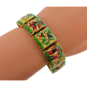 Vintage celluloid panel bracelet with painted enamel oriental scenes