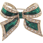 Bow Brooch with crystal rhinestone and green glaze enamel