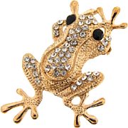 Vintage figural frog Brooch with crystal rhinestones and black opaque stone eyes