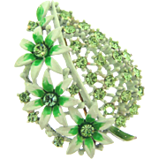 Lovely floral leaf Brooch with light green enamel and green rhinestones