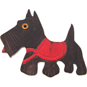 Vintage carved wooden Scottie dog Brooch with red sweater and glass eye