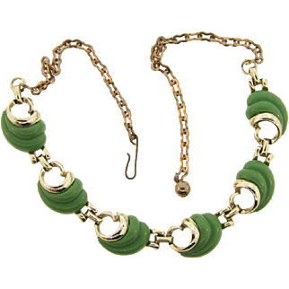 Vintage 1950's choker link Necklace with green thermoset swirls