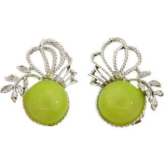 Vintage 1960's silver tone large clip on earrings with chartreuse thermoset cabochons