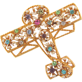 Vintage 1960's figural airplane Brooch with enamel flowers and multi colored rhinestones