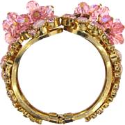 D&E Juliana rhinestone and bead Clamper Bracelet with pink stones