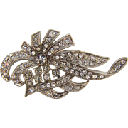 Vintage 1940's all crystal floral design Art Deco Brooch