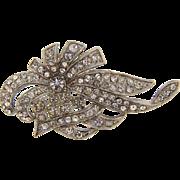 Vintage 1940's all crystal floral design Art Deco Brooch