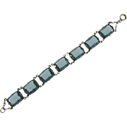 Marked sterling early vintage petite link Bracelet with blue glass faceted stones