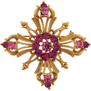 Signed Lisner unusual cross shaped Brooch with shades of pink rhinestones