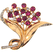 Beautiful vintage 1950's floral Brooch with crystal and magenta rhinestones