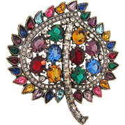 1940's large pot metal leaf Brooch with multicolored and crystal rhinestones